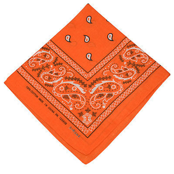 "Orange Paisley Bandanna 22"" Square Standard 100% Cotton 12 PACK 1916DZ"