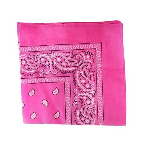 "Hot Pink Paisley Bandanna 22"" Square Standard 100% Cotton  12 PACK 1917DZ"