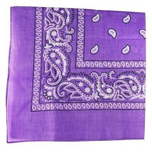 "Purple Paisley Bandanna 22"" Square Standard 100% Cotton 12 PACK 1918DZ"