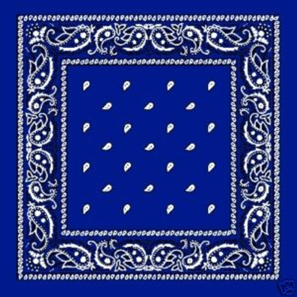 "Royal Blue Paisley Bandanna 22"" Square Standard 100% Cotton 12 PACK 1920DZ"