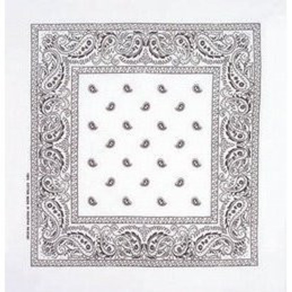"White Bandanna Paisley 12 PACK 22"" Square Standard 100% Cotton 1922DZ"