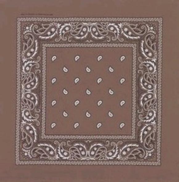 "Brown Paisley Bandanna 22"" Square Standard 100% Cotton 12 PACK 1924DZ"