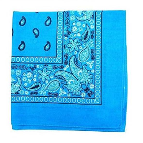 "Turquoise Blue Paisley Bandanna 22"" Square Standard 100% Cotton 12 PACK 1925DZ"