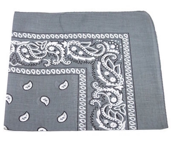 "Grey Paisley Bandanna 22"" Square Standard 100% Cotton 12 PACK  1926DZ"