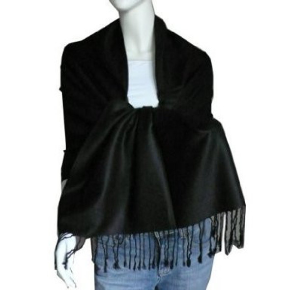 Black Pashmina Shawl 100% Fine Wool Mix 12 PACK 2100