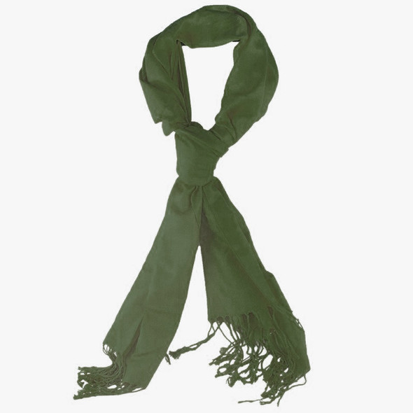 Olive Green Pashmina Shawl 100% Fine Wool Mix 12 PACK 2103