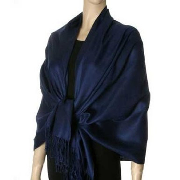 Navy Pashmina Shawl 100% Fine Wool Mix 12 PACK 2108