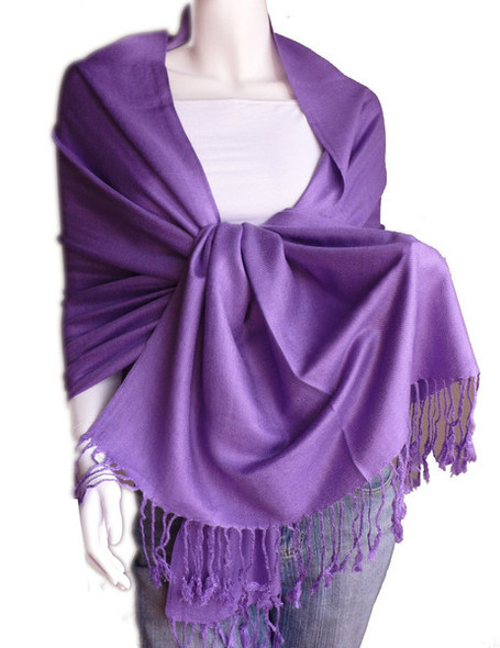 Purple Pashmina Shawl 100% Fine Wool Mix  12 PACK 2110