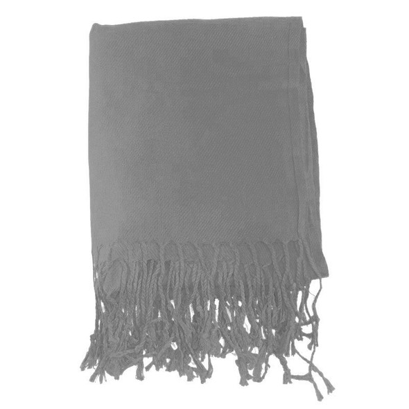 Silver Pashmina Shawl 100% Fine Wool Mix 12 PACK  2113