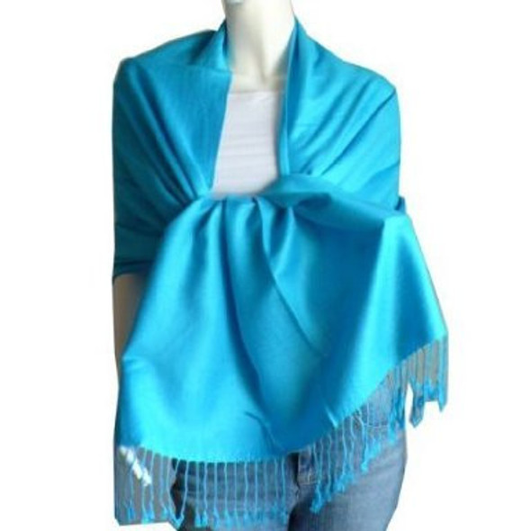 Turquoise Blue Pashmina Shawl 100% Fine Wool Mix 12 PACK 2115