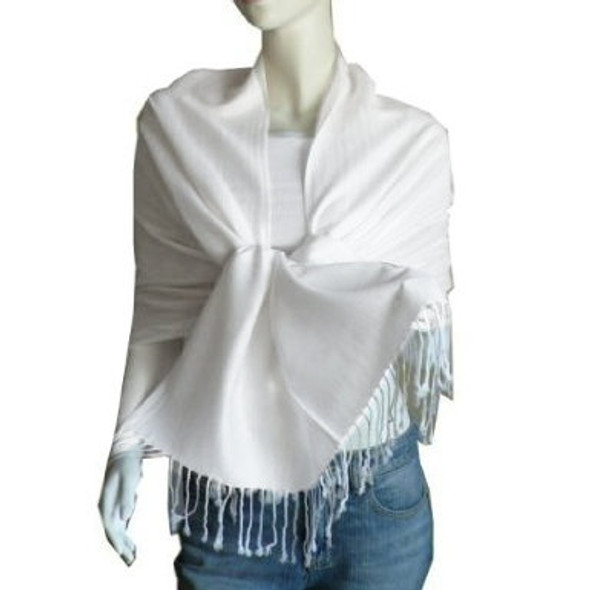 White Pashmina Shawl 100% Fine Wool Mix 12 PACK 2116