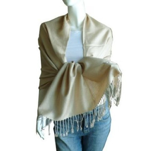 Beige Pashmina Shawl 100% Fine Wool Mix 12 PACK 2118
