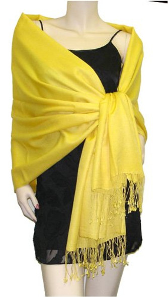Yellow Pashmina Shawl 100% Fine Wool Mix 12 PACK 2120
