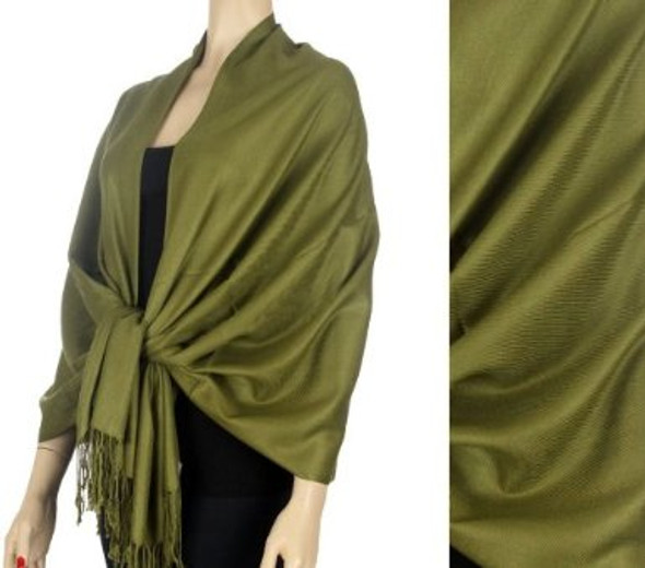 Olive Green Pashmina Shawl 12 PACK 100% Fine Wool Mix  2122