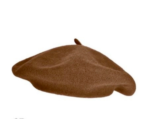 "Brown Wool Beret 22.5"" Standard Adult Size 1362"