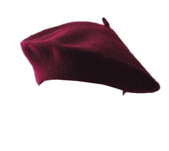 "Burgundy Beret Wool 22.5"" Standard Adult Size 1363"
