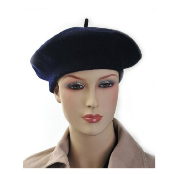 "Navy Blue Beret Wool 22.5"" Standard Adult Size 1367"