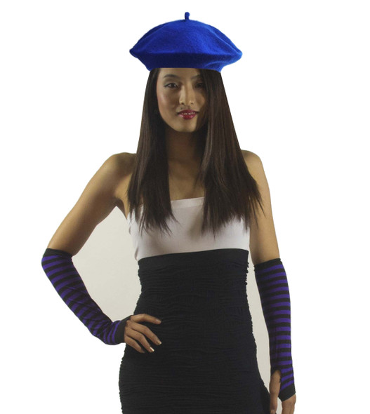 "Royal Blue Beret Wool 22.5"" Standard Adult Size 1371"