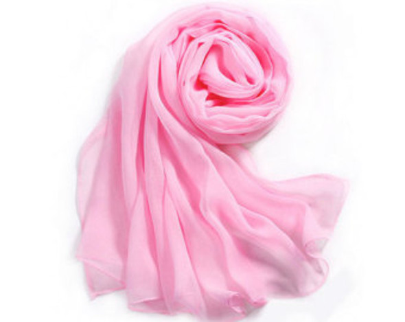 """Light Pink Long Sheer Chiffon Scarf 21"""" x 60"""" 2131"""