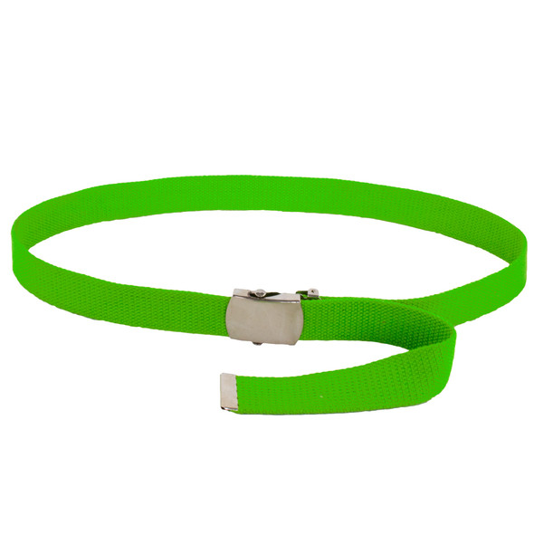 """Neon Green Canvas Belt Adjustable Lime Green Adjusts to 44-46"""" Size 2217"""