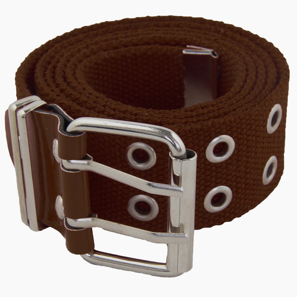 12 PACK Brown Canvas Two Hole Grommet Belts Mix Sizes 2260A