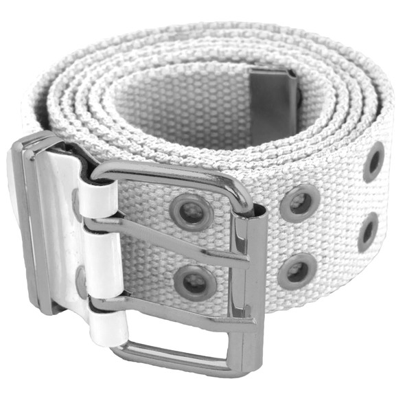 12 PACK White Canvas Two Hole Grommet Belts Mix Sizes 2280A