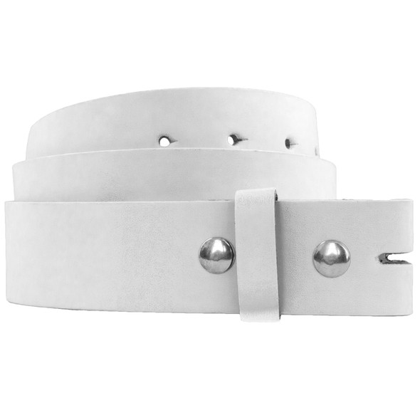 White Leather Belt For Buckles Small 2388A