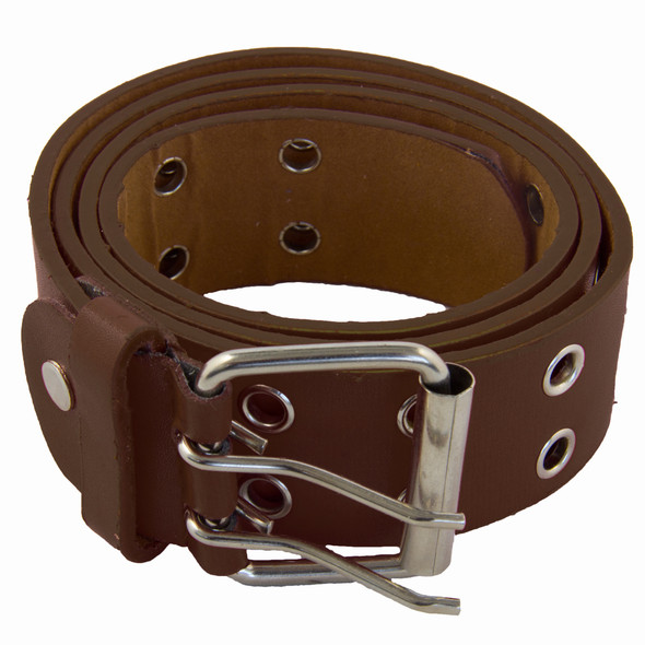 Punk Belts Brown Two Rows Metal Holes Mix Sizes 12 PACK 2436A