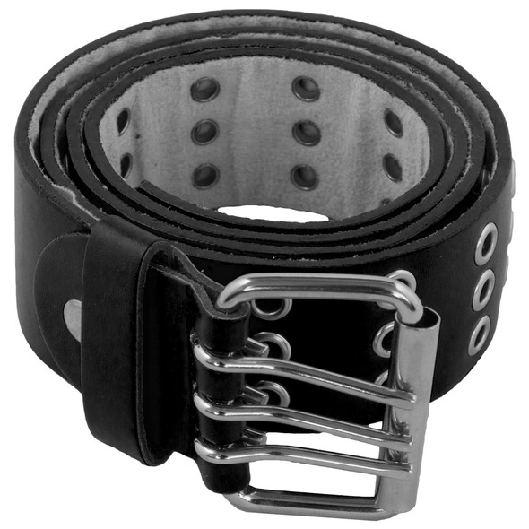 Black Punk Belts Wholesale | Three Rows Metal Holes 12 PACK 2460A