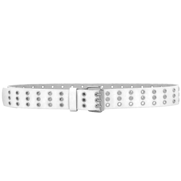 Punk Belts Three Rows Metal Holes White Mix Sizes 12 PACK 2476A