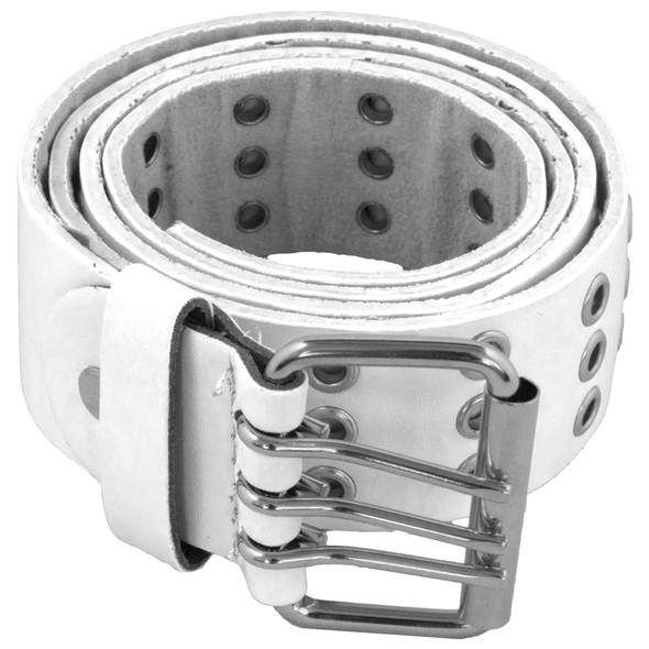 White Punk Three Rows Metal Holes Belt 2476-2479