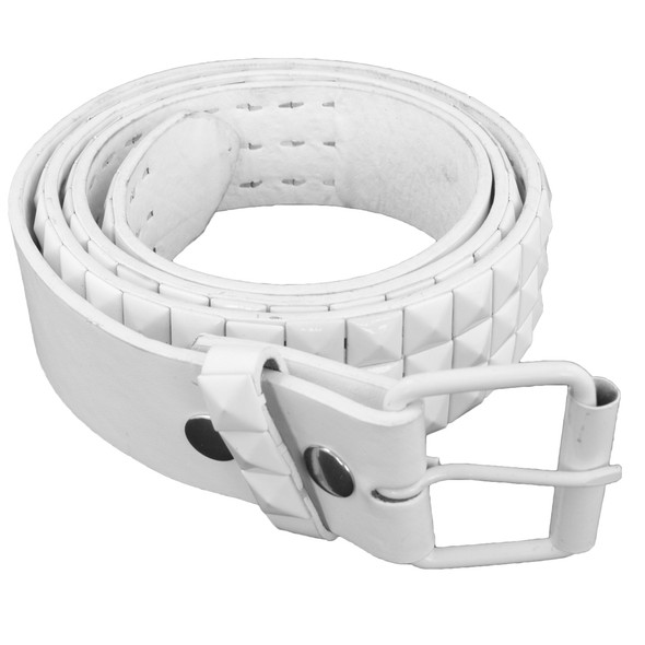 White Punk Belts Wholesale | Studded Mix Sizes 12 PACK 2492A