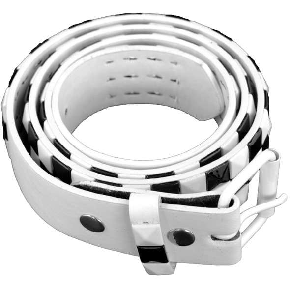 White/Black Checkerboard Studded Belts - White Mix Sizes 2516A