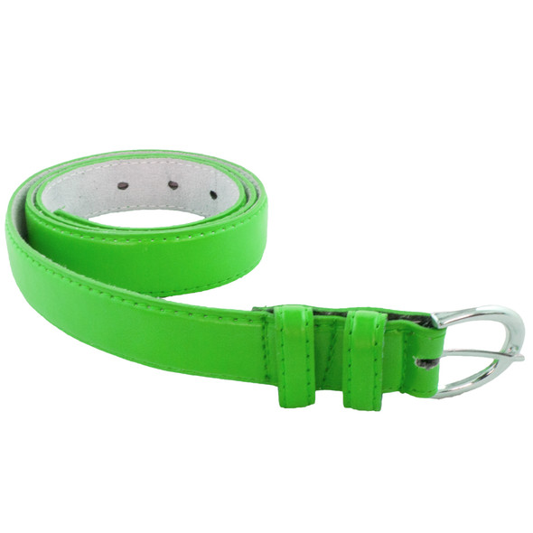 12 PACK Neon Green 1 Inch Skinny Belts Mix Sizes 2636A
