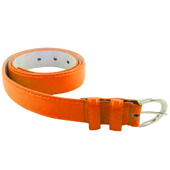 12 PACK Neon Orange 1 Inch Skinny Belts Mix Sizes 2644ANO