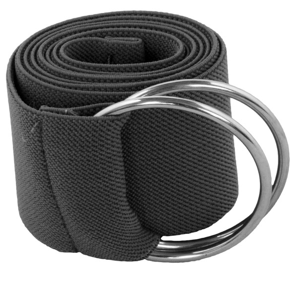 Dark Grey Stretch D-Ring Belt 2686