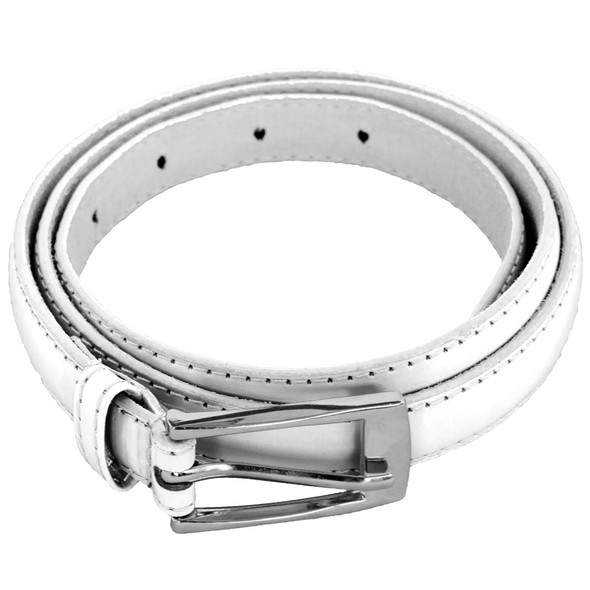 White Skinny Belt with Rectangle Buckle 2804-2807