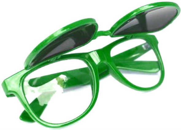 Green Flip Up Iconic 80's Style Sunglasses 1049