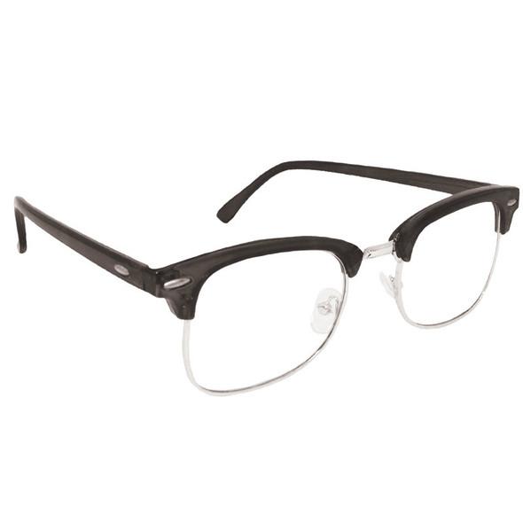 Half Frame Glasses Clear Lens Vintage Adult Style Black 1070