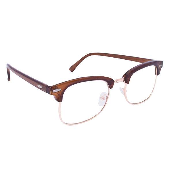 Brown Half Frame Sunglasses Vintage Adult Style Brown/Clear Lens 1071