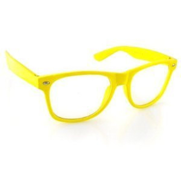 Yellow Clear Lens | Iconic 80's Style |  Yellow Adult Style Glasses 7074