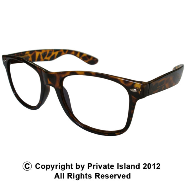 Brown Frame Clear Lens | Iconic 80's Style | Adult Sunglasses 7075