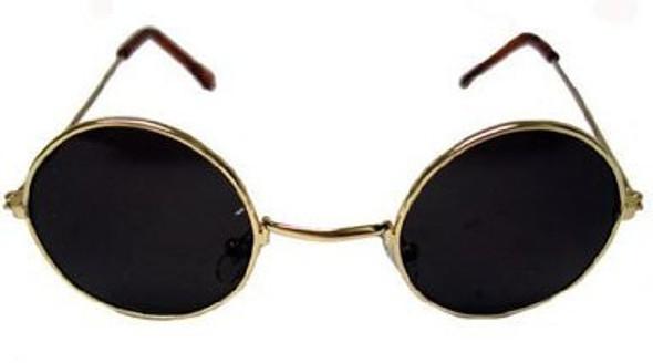 Lennon Style Sunglasses Gold Frame/ Black Lens 1087