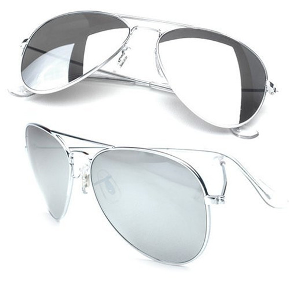 Aviator Sunglasses Silver Frame/Silver Mirror Lens 12 PACK  1104