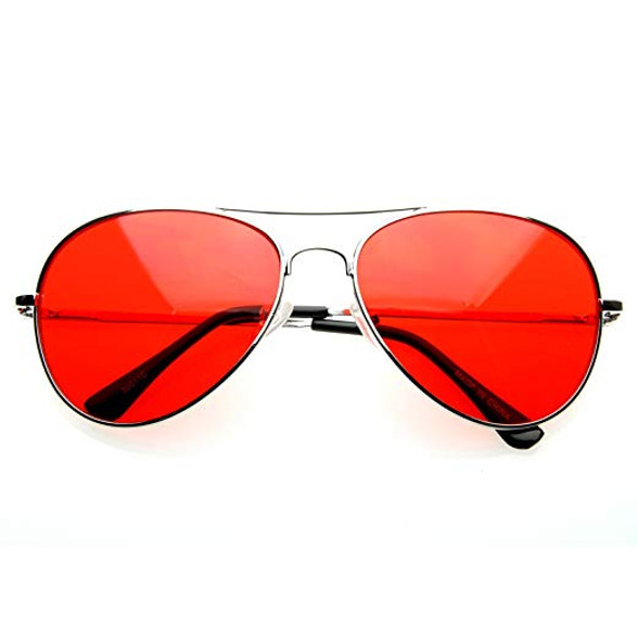 Silver Frame and Red Lens Aviator Sunglasses 1105