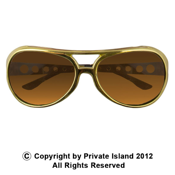 Elvis Style Rock Star Sunglasses Gold 1135