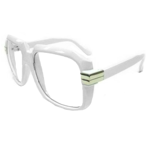 Rapper Style White Frame/Clear Lens Sunglasses 1147