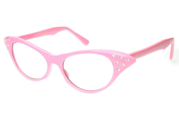 Pink Cat Eye Glasses Wholesale |  w/ Rhinestones 7082