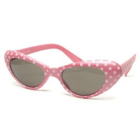 Hot Pink KIDS SIZE Retro Cat Eye Polka Dot Sunglasses 7083