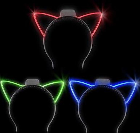 12 PACK LED Cat Ear Headbands Mix Colors 7100A
